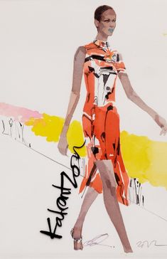 Fashion illustration by David Downton, 2012, Mary Katrantzou for Vogue.