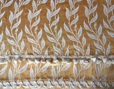 Satin Brocade Curtains Gold and Cream Reversible Fancy Trim