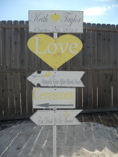 Superb idea for the wedding. Would make great living decoration afterwards as well. Directional signYellow and Gray Wedding Love by 2chicsthatbelieve, $160.00