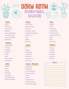 Save this printable to get the ultimate dorm room survival guide to keep everything organized and to not forget all the things you need for your small college living space. College Wall Art, College Dorm Rooms, College Life, 20 Years Old, College Dorm Checklist, Dorm Room Necessities, Small Colleges, Dorm Room Organization, Cleaning Checklist