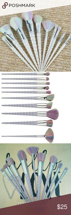 10 pcs unicorn makeup brushes Brand new 10 piece set!  Each brush features a pearlescent with lavender hues unicorn style handle and pastel rainbow bristles.  Perfect for applying foundation, bronzer, highlighter, concealer, eyeshadow, blush, eyeliner, etc!   Every brushes comes in its own individual wrapper! Makeup Brushes & Tools