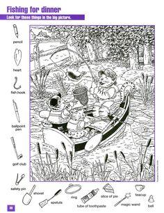 Fishing for Dinner Hidden pictures coloring page Coloring Sheets, Adult Coloring, Colouring Pages, Coloring Books, Hidden Picture Games, Hidden Picture Puzzles, Hidden Pics, Ivan Cruz, Infant Activities