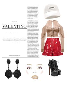 """❤️"" by kevinloe on Polyvore featuring Valentino, Alaïa, Forever 21 and Oscar de la Renta"