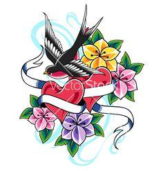 Swallow flower tattoo vector image on VectorStock Text Tattoo, Tattoo Set, Tattoo Plume, Traditional Tattoo Flowers, Traditional Tattoos, Swallow Bird Tattoos, Flying Bird Silhouette, Vintage Style Tattoos, Blue Drawings