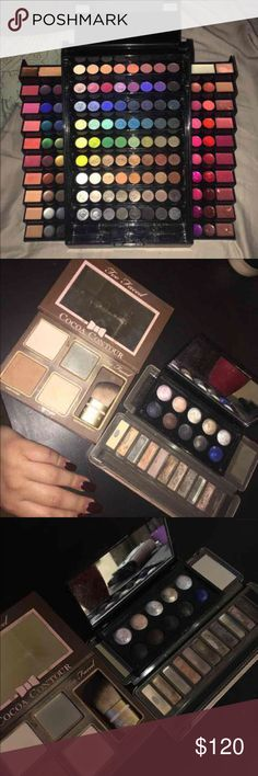 HUGE MAKEUP BUNDLE 3 makeup palettes with a contour palette, lippies, eyelash curlers, and more. brands are from sephora collection, urban decay, ABS, colourpop, mary kay, too faced and more. it is over a $500 value Sephora Makeup Eyeshadow