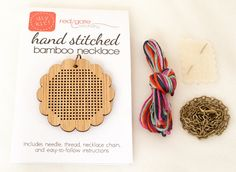 DIY Cross Stitch Necklace Kit Bamboo with by RedGateStitchery