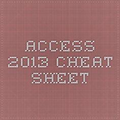 Access 2013 - Cheat Sheet