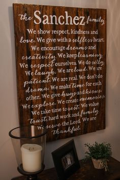 """Our Large Family Mission Statement {Sanchez Design} measures approximately 28""""X38"""" and is  available in several wood finishes and lettering colors. Please make your selection from the drop down menu.    OGDS pieces come ready to hang with hardware attached as well as a """"no tool required"""" hanging ..."""
