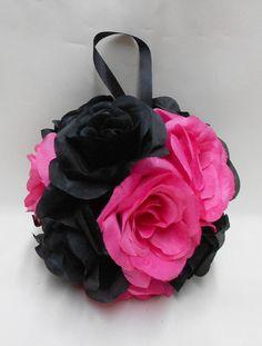 Wedding Reception Black Hot Pink Kissing Ball by weddingsbyminali, $12.99