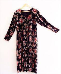 Black Friday Sale Bohemian Floral Black Velvet Maxi by KheGreen