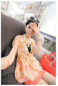 J71497 Korean Fashion V-neck Shivering Chiffon Shirt [J71497] - $8.25 : China,Korean,Japan Fashion clothing wholesale and Dropship online-Be the most beautiful Lady