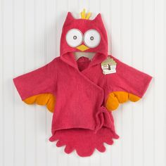 """My Little Night Owl"" Hooded Terry Spa Robe (Pink)  Soft and warm as a terry towel--and looks just like a baby owl! Our huggable, snuggable night owl spa robe will keep baby girl warm and dry from her crest to her tiny tailfeathers after a bath! Whoooo's ready to make a big splash at the baby shower?"