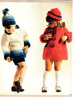 Vintage Crochet Pattern-Boy's Jacket & Bobble Hat and Girl's Coat & Hat Sets | eBay