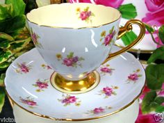 Shelley Teacup Blue Chintz Yellow Inside Tea Cup and Saucer