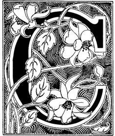 Art Nouveau initial #C