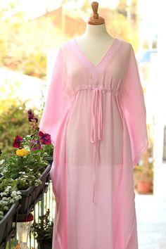 Kaftan Maxi Dress - Beach Cover Up Caftan in Light Pink Cotton Gauze - 20 Colors Dress Beach, Beach Dresses, Night Dress For Women, Looks Chic, Indian Designer Outfits, Abaya Fashion, Pink Outfits, Sheer Fabrics, Designer Wear
