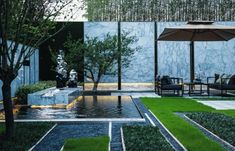 Minimalist song rhyme, the perfect interpretation of contemporary Chinese landscape mood [Global Design - Global Design - WeChat public number article Chinese Landscape, Chinese Garden, Modern Landscaping, Garden Landscaping, Atrium Design, Diy Garden Fountains, Outdoor Living Rooms, Landscape Architecture Design, Rooftop Garden