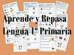 Aprende y Repasa Lengua Primaria Continuamos con el repaso a lengua de primaria con estas fichas para aprender y repasar. 30 fichas en las que podras repasarvocabulario con imágenes, vocales, síla...