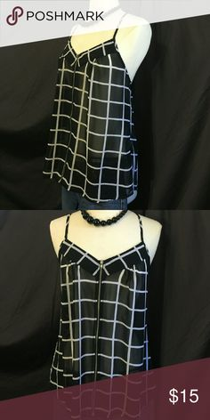 Finesse Sheer Striped Blouse Sheer Striped Blouse spaghetti strap has pretty accent zipper in front very light fabric. Finesse Tops Blouses