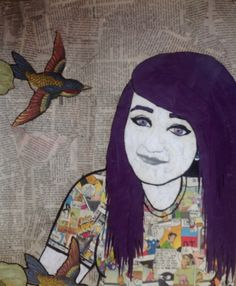 Collage self portrait, High school Painting & Mix media.