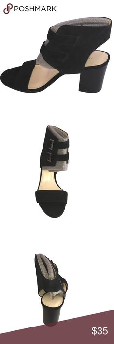 Nine West Women's Galiceno Suede Heeled Sandal Brand new in box.    Dual ankle straps with buckle closures. Open-toe silhouette. Single strap over vamp. Man-made lining. Lightly padded footbed. Man-made sole. Imported. Nine West Shoes Heels