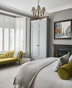 Grey bedroom ideas – grey bedroom decorating – grey colour scheme Add some zing to your grey bedroom decorating scheme with block colour accents such as lime green. Grey bedroom ideas lime accents Related posts:A. Dark Gray Bedroom, White Bedroom Design, Grey Bedroom Decor, Bedroom Green, Bedroom Colors, Home Bedroom, Modern Bedroom, Bedroom Ideas, Bedroom Designs
