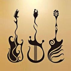 $12.99 Beautiful Art Mural Bedroom Sticker TV Background Wall Decor with Three Kinds of Guitar Pattern