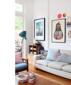 composição, piso, sofá, almofadas, quadros