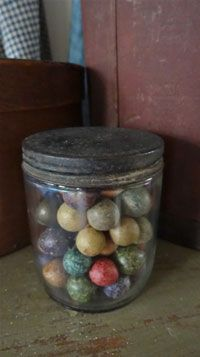 Love the old jar of marbles.....if only they could talk & tell the tales!!