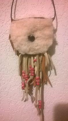 Buckskin Amulet Bag with Cloud Art, buckskin fringe with ceramic beaded beading,shearling,button closure