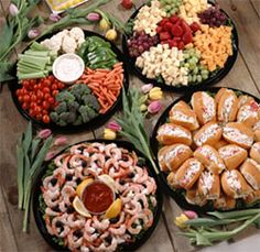 Healthy Ideas! Really like the Shrimp Tray, Veggie Tray & Fruit w/ Cheese Platter