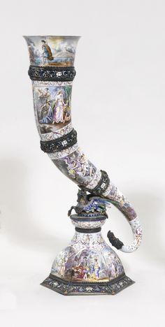 A silver and enamel cornucopia, Hermann Böhm, Vienna, circa 1880 Antique Art, Antique Silver, Ancient Artefacts, Objet D'art, Art Object, Silver Enamel, Art Decor, Vintage Items, Bling