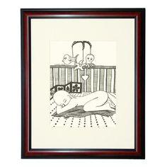 Baby sleeping in a crib illustration black pen by liatib on Etsy, $21.00