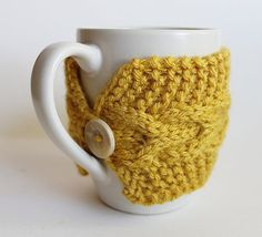 Knitted Cup Cozy Mug Sleeve Yellow Mustard by GoodWeather