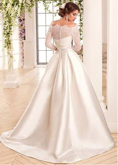 ee03b4b54113c Buy discount Junoesque Satin Off-the-shoulder Neckline A-Line Wedding  Dresses at