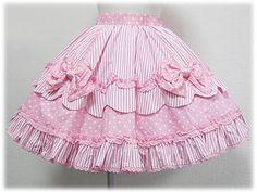Striped Polka Dot Skirt by Angelic Pretty Little Girl Skirts, Skirts For Kids, Little Girl Dresses, Girls Dresses, Kawaii Fashion, Lolita Fashion, Kawaii Clothes, Dress Sewing Patterns, Lolita Dress