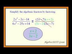 Simplify Algebraic Fractions by Factoring 1 - 9th-12th Grades Common Core Mathematics