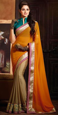 USD 65.24 Orange Georgette Embroidery Wedding Saree 42730