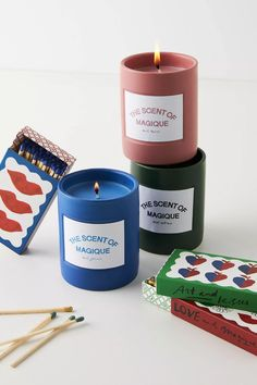 Hotel Magique for Anthropologie The Scent Of Magique Boxed Candle | Anthropologie Unique Candles, Large Candles, Home Candles, Candle Box, Candle Jars, Candle Gifts, Candle Holders, Beeswax Candles, Scented Candles