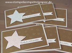 Stempelkrempel mit Papier Sterne aus 2014, Prägefolder und Zauber der Weihnacht