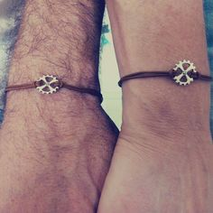 Couples Bracelets ,Gear Bracelets, Matching Bracelets, His Her Bracelet, Leather Jewelry,Lovers Gift,Unisex,Couples Gift,Set of 2 Bracelets  The product here is one set of two bracelets. Couples bracelets can symbolize your love and commitment to each other. This set of two