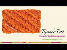 Punto diagonal calado tejido en dos agujas - YouTube