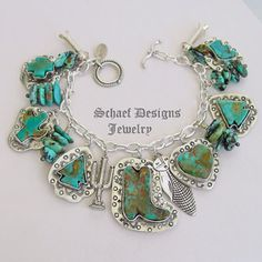 Schaef Designs Campo Frio Turquoise & Sterling Silver REVERSIBLE Southwestern Charm Bracelet   New Mexico