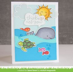 Lawn Fawn Critters In The Sea card - love how she made the waves - bjl
