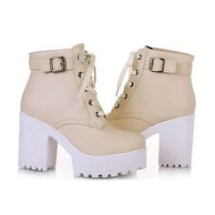 Latasa Women's Fashion Platform Ankle-high High-heel Chunky Boots, Lace-up Martin Boots ** Read more at the image link. Beige Ankle Boots, Ankle Shoes, High Heel Boots, Heeled Boots, High Heels, Ankle Bootie, Oxford Boots, Oxford Heels, Rain Boots Fashion