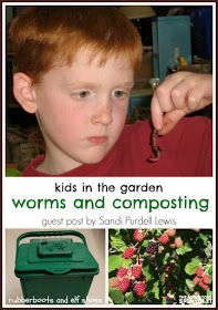 kids in the garden, worms and composting