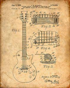 Patent Print of an Electric Guitar Patent Art Print Patent Poster