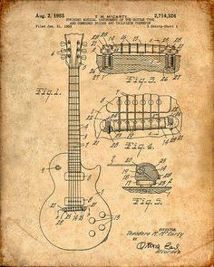 Patent Print of an Electric Guitar Patent Art Print Patent Poster
