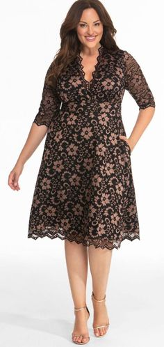 Black Lace Dress With Pockets - Plus Size Floral Lace Dress takes a classic style and adds a feature we've all been dreaming of---pockets! I love this black plus size dress with pockets! Plus Size Lace Dress, Lace Dress Black, Plus Size Dresses, Plus Size Outfits, Dress Lace, White Lace, Dressy Dresses, Fall Dresses, Dress Outfits