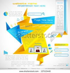 vector illustration of origami web template